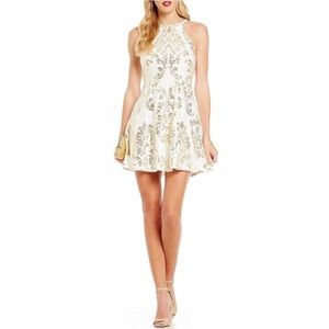 🐋B Darlin Ivory & Gold Foil Print Party Dress 7/8